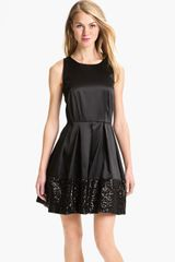 Taylor Dresses Sequin Hem Satin Fit Flare Dress in Black - Lyst