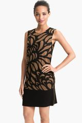 Taylor Dresses Intarsia Printed Shift Dress - Lyst