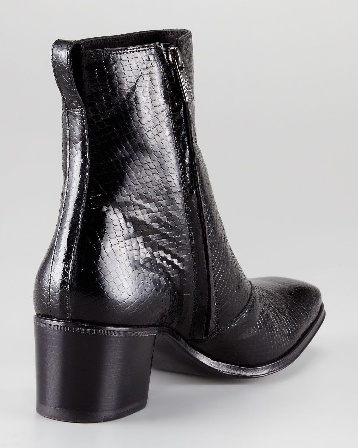 Lyst saint laurent jonny pythonembossed boot in black for Miroir yves saint laurent