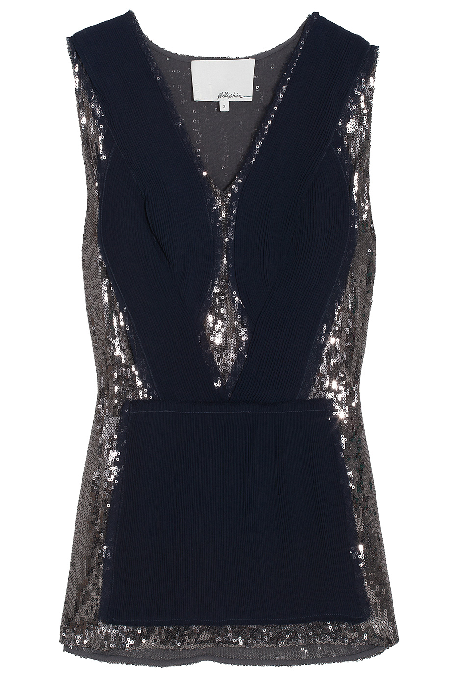 3 1 Phillip Lim Sequin V Neck Top In Blue Lyst