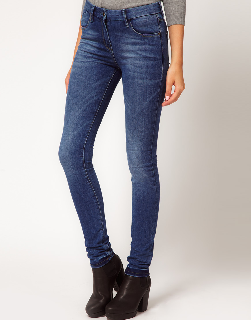 Asos Supersoft High Waisted Ultra Skinny Jeans in Blue | Lyst
