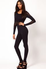 ASOS Collection Asos Long Sleeve Unitard with Lace Panels - Lyst