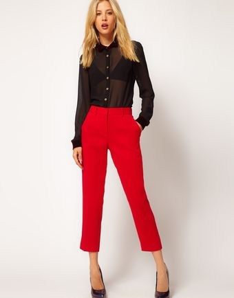 ASOS Collection  Crepe Cropped Trousers - Lyst