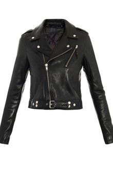 Blk Dnm Cropped Biker Leather Jacket - Lyst