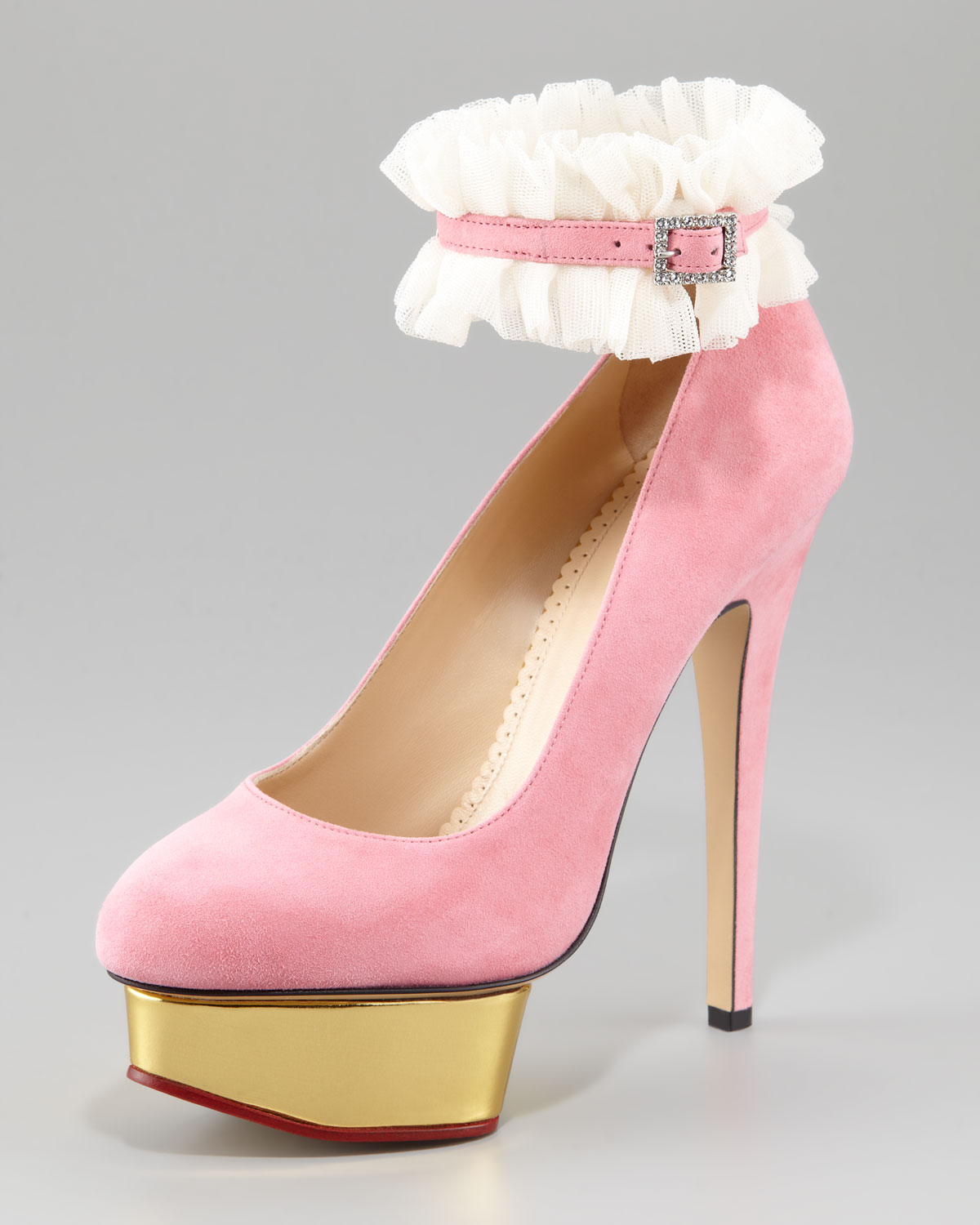90675a64039 Lyst - Charlotte Olympia Dolly Island Suede Platform Pump Light Pink ...