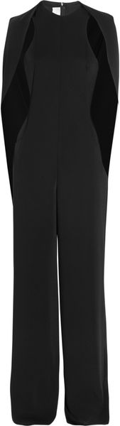 Esteban Cortazar Cape-Back Cady and Stretch Crepe Jumpsuit in Black - Lyst