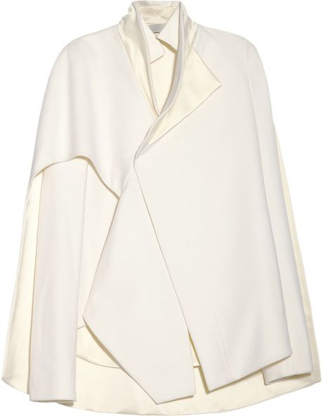 Esteban Cortazar CapeBack WoolBlend and Duchess Satin Jacket in White (ivory) - Lyst
