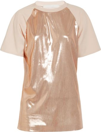 Esteban Cortazar Lamé and Stretch Crepe T-Shirt - Lyst