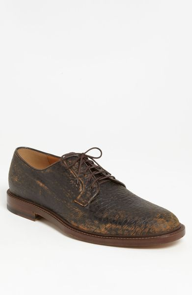 Gucci Cezanne Distressed Plain Toe Derby in Brown for Men (cocoa) - Lyst