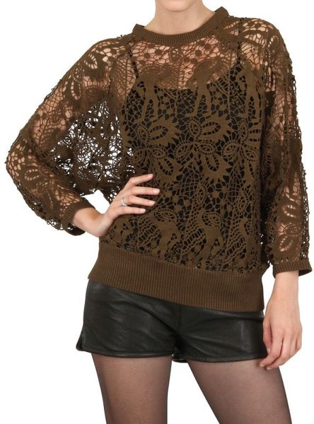 Isabel Marant Guipure Lace Cotton Sweatshirt in Brown