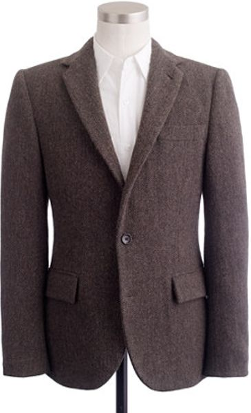 J.crew Harris Tweed Wool Herringbone Sportcoat in Ludlow Fit in Black for Men (brown) - Lyst