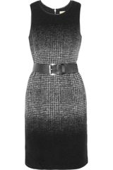 Michael by Michael Kors Belted Plaid Wool-Blend Dress - Lyst