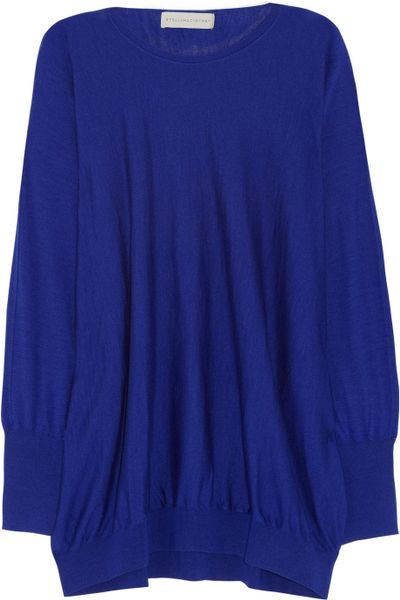 Stella Mccartney Wool and Silk-Blend Sweater in Blue (indigo) - Lyst