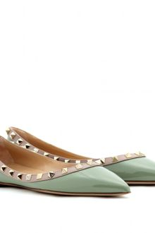 Valentino Rockstud Leather Ballerinas - Lyst