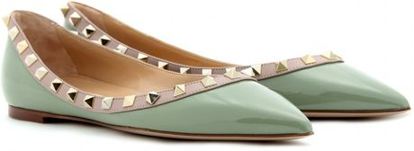 Valentino Rockstud Leather Ballerinas in White - Lyst