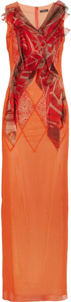 Vera Wang Organza and Mesh Paneled Silk Chiffon Gown in Orange