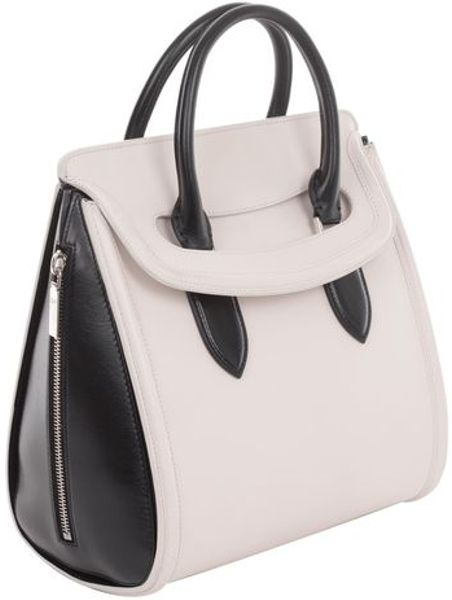 Alexander Mcqueen Ivory Black Polished Leather Medium Heroine in Beige (ivory) - Lyst