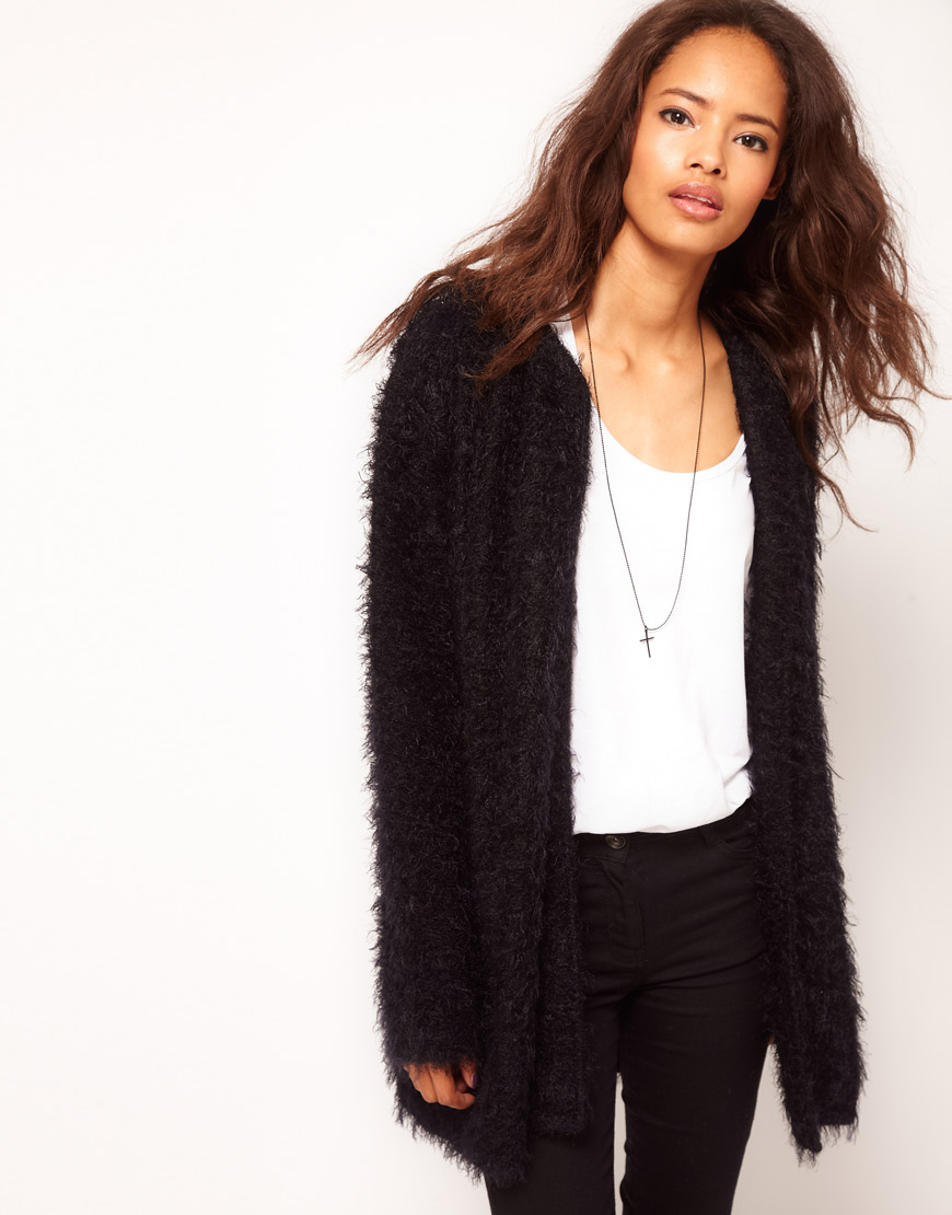 Lyst Asos Cardigan In Fluffy Texture In Black