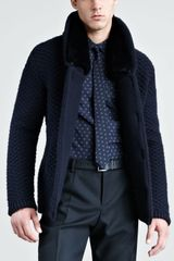 Burberry Prorsum Furlined Knit Jacket in Blue for Men (ink) - Lyst