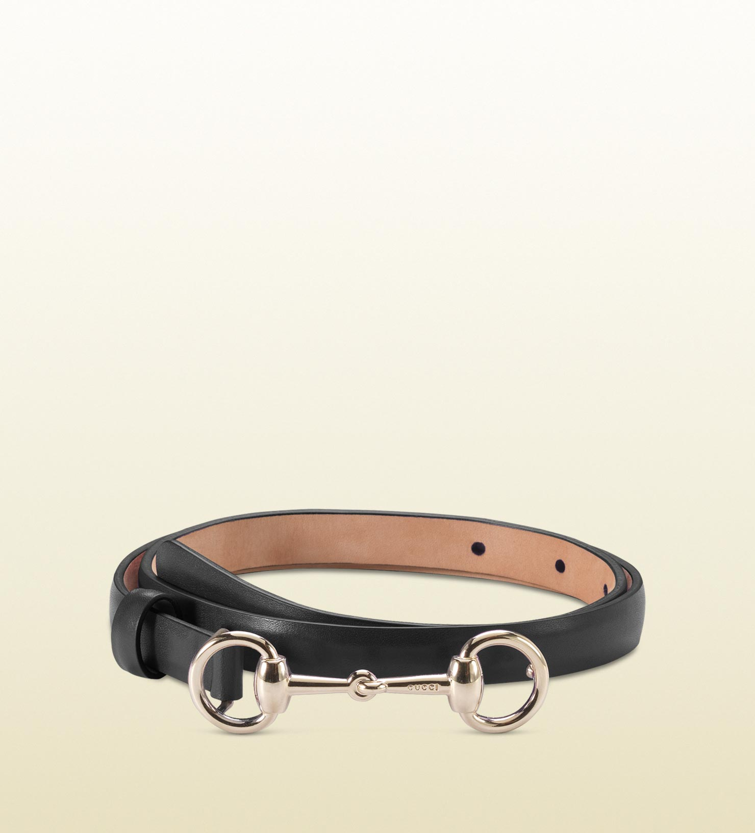 c1763b044bd Lyst - Gucci Leather Skinny Belt With Horsebit Buckle in Black