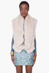 Matthew Williamson Beige Rabbitfox Fur Gilet Vest - Lyst