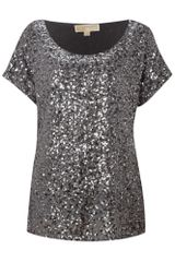 Michael By Michael Kors All Over Sequin Top in Gray (gunmetal) - Lyst