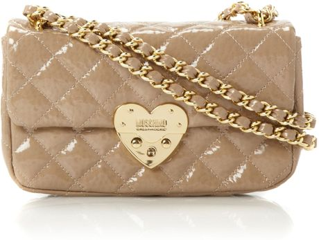 Moschino Cheap & Chic Matelasse Heart Quilted Chain Shoulder in Beige (neutral)