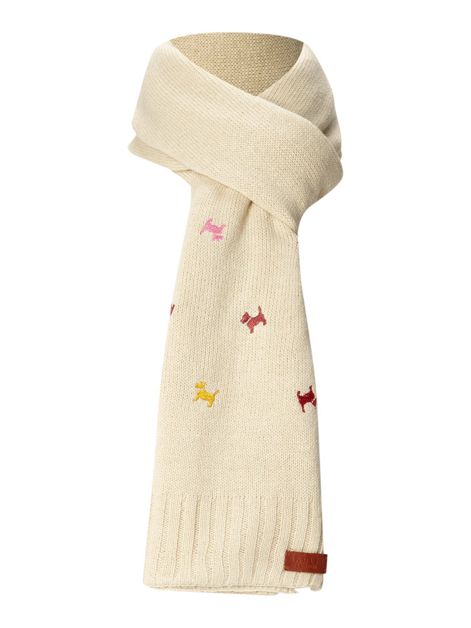 Radley Cecile Embroidered Dog Knitted Scarf in White Lyst
