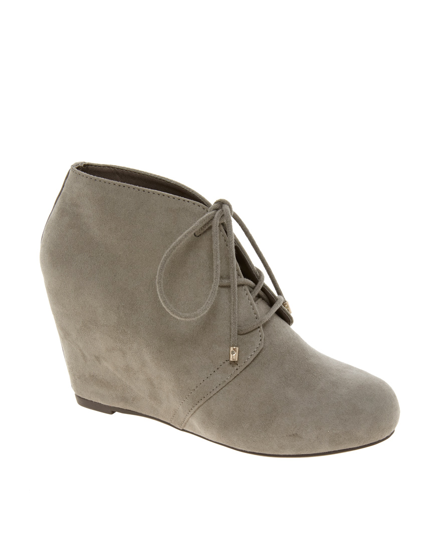 river island lace up wedge ankle boots in gray lyst