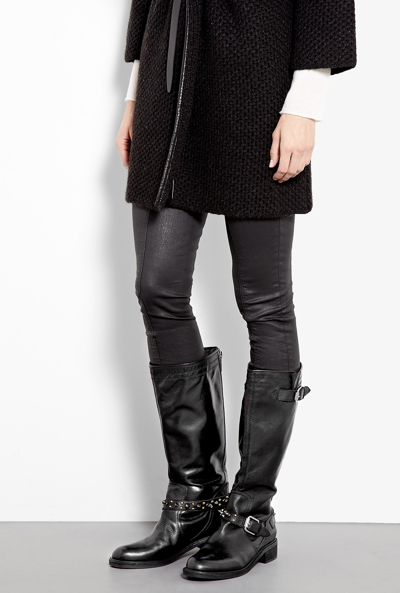 Shoeniverse On Sale Ashlyn Studded Knee High Biker Boots