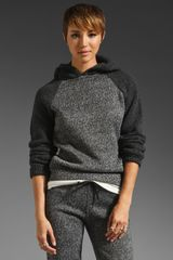 T By Alexander Wang Knit Sleeve Tweed Print Hoodie - Lyst