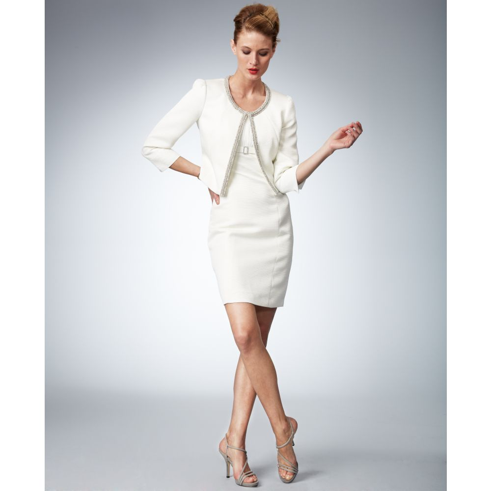 Tahari Threequartersleeve Beaded Jacket Sheath Dress in White | Lyst