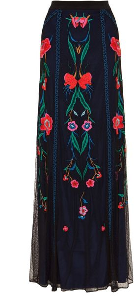 Temperley London Long Eliah Flower Skirt in Black (black mix) - Lyst