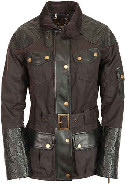 Temperley London Barbour Bay Biker Jacket in Brown (brown/black) - Lyst