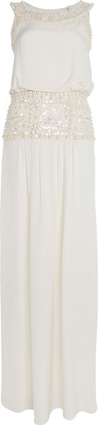 Temperley London Long Deco Beaded Dress in White (ivory) - Lyst