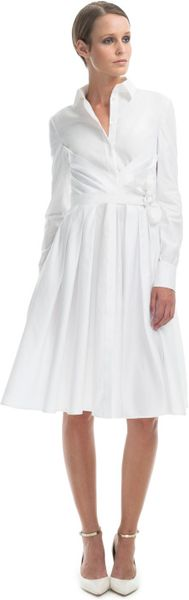 Valentino Resort Wrap Pleated Shirt Dress in White