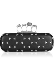 Alexander McQueen Knuckle Swarovski Crystal and Leather Box Clutch - Lyst