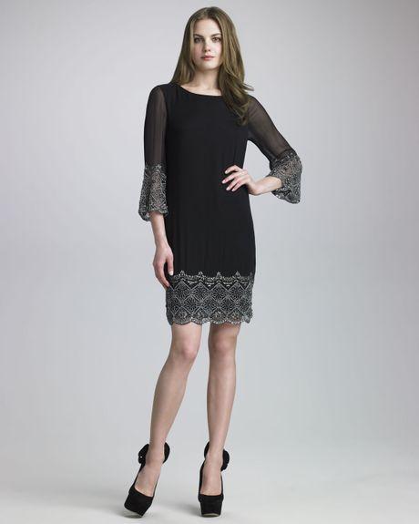 Alice Olivia Liat Embellished Dress In Black Silver Lyst