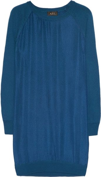 A.p.c. Silk and Merino Wool Dress in Blue (ocean)