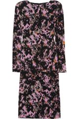 Bottega Veneta Faded Flowers Printed Silk-crepe Dress - Lyst