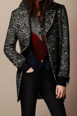 Burberry Brit Herringbone Wool Blend Overcoat - Lyst