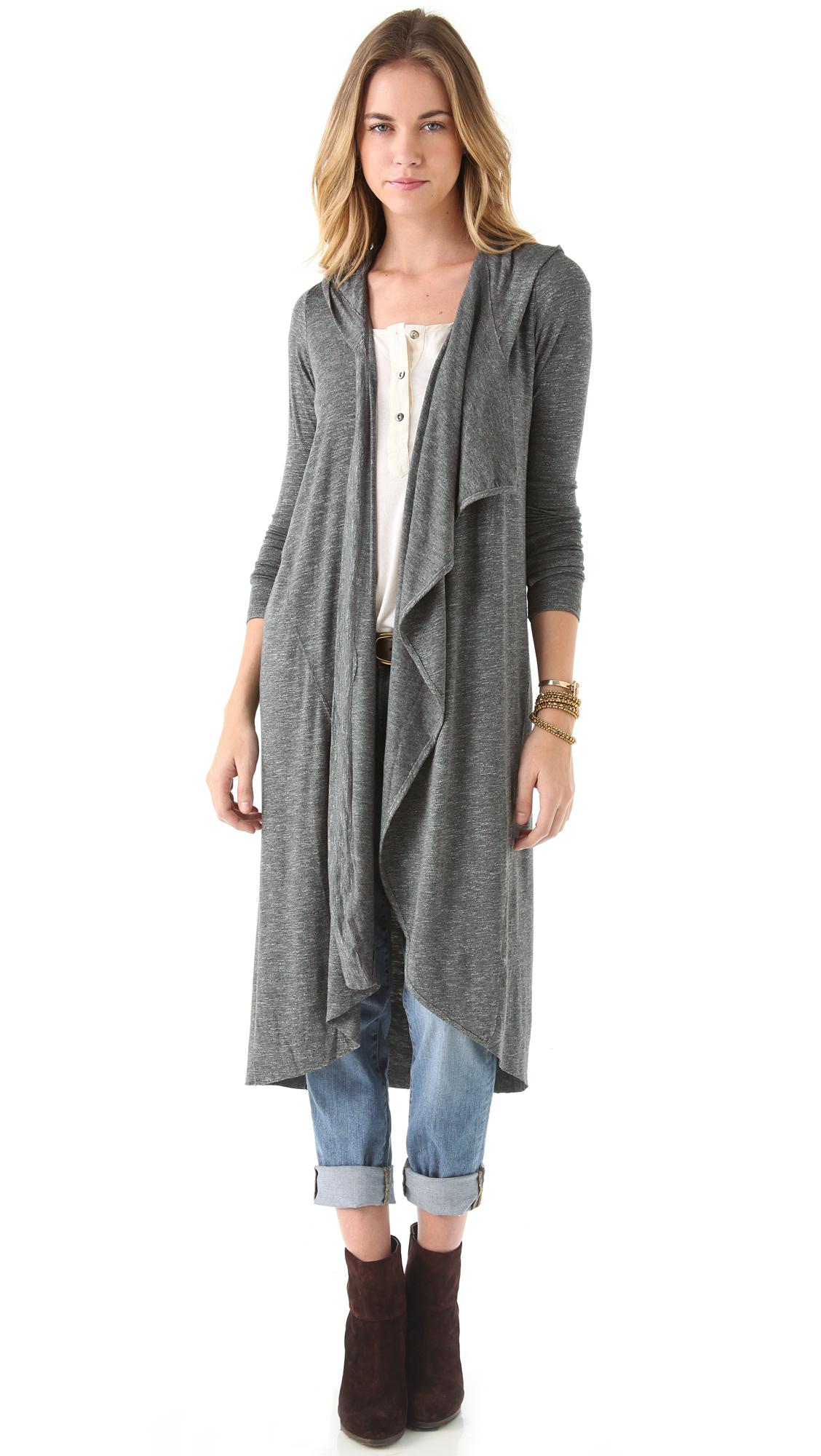 Dolan Asymmetrical Hooded Maxi Cardigan in Gray | Lyst
