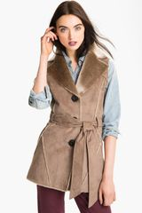 Ellen Tracy Faux Shearling Notch Collar Vest - Lyst