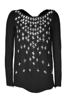 Emilio Pucci Black Crystal Embellished Silk Top - Lyst