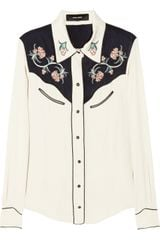 Isabel Marant Lauryn Embroidered Crepe Blouse - Lyst