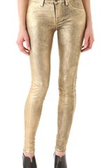J Brand Super Skinny Coated Metallic Jeans - Lyst