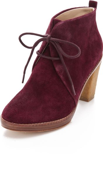 Kors By Michael Kors Lena Lace Up Booties in Brown (bordeaux) - Lyst
