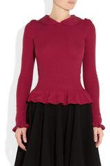 Red Valentino Ribbed Knit Wool Top in Red - Lyst