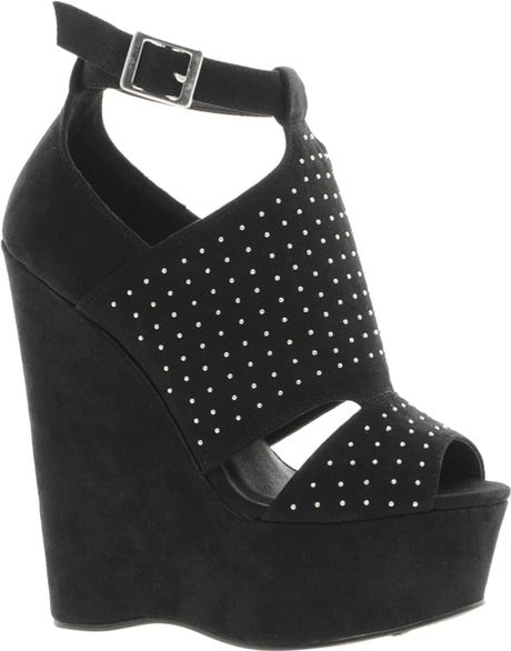 56029e2a8f45c River Island Caged and Stud Platform Shoes in Black