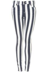 Topshop Stripe Print Jeans  in White (navy blue) - Lyst